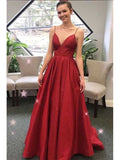 Satin Prom Dresses Banquet Gowns Evening Gowns with Spaghetti Straps MPD191