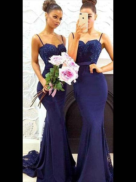 Mermaid Floor Length Bridesmaid Dresses with Spaghetti Straps MBP026