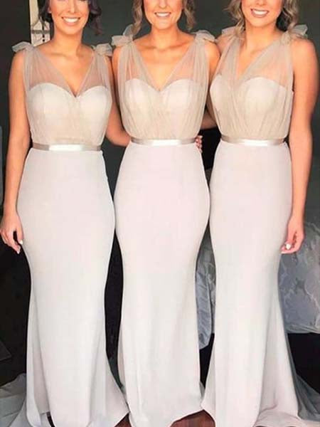 Mermaid Floor Length Bridesmaid Dresses MBP031