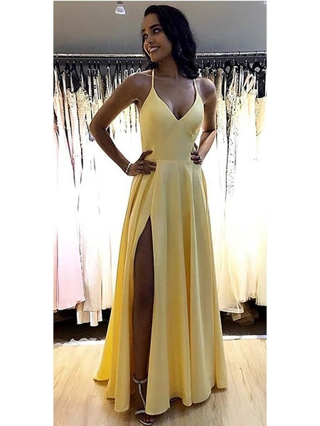 Satin Prom Dresses Banquet Gowns Evening Gowns with Slit MPD320