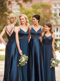 Floor Length Bridesmaid Dresses with Spaghetti Straps MBP036