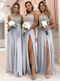 Lace and Chiffon Bridesmaid Dresses with Slit MBP037
