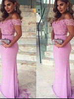 Off the Shoulder Lace Bridesmaid Dresses MBP039