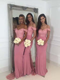 Off the Shoulder Lace Floor Length Bridesmaid Dresses MBP040