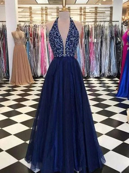 Halter Beaed Prom Dresses Banquet Gowns Evening Gowns MPD468