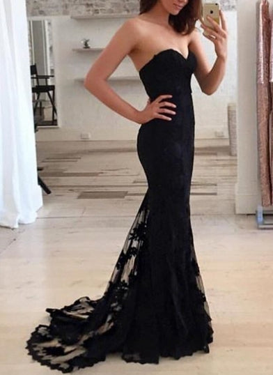 Black Mermaid Formal Dresses Prom Dresses Wedding Party Dresses MPD495