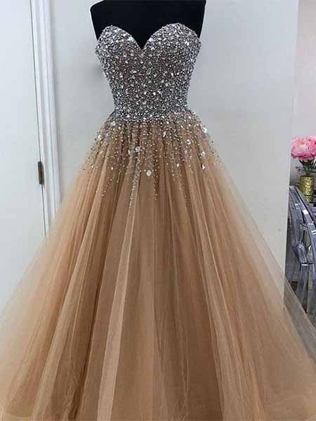 Beaded Tulle Prom Dresses Banquet Gowns Evening Gowns MPD516