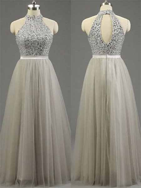 Two Pieces Halter Prom Dresses Banquet Gowns Evening Gowns MPD525