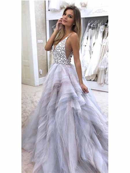 Beaded Tulle Prom Dresses Banquet Gowns Evening Gowns MPD537