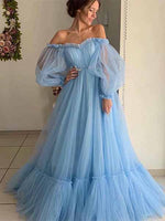 Off the Shoulder Tulle Prom Dresses Banquet Gowns Evening Gowns MPD546