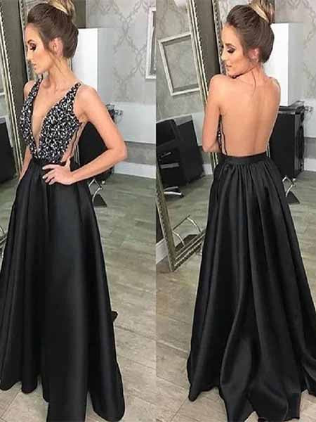 Sexy Backless Satin Prom Dresses Banquet Gowns Evening Gowns MPD549