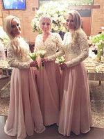 Lace and Chiffon Floor Length Bridesmaid Dresses MBP054