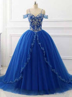 Ball Gown Off the Shoulder Royal Blue Prom Dresses Banquet Gowns Evening Gowns MPD558