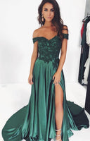 Off the Shoulder Prom Dresses Banquet Gowns Evening Gowns with Slit MPD561