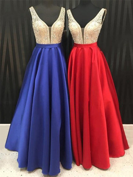 Beaded Satin A Line Prom Dresses Banquet Gowns Evening Gowns MPD566