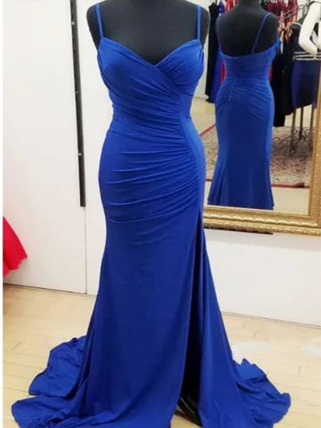 Royal Blue Prom Dresses  Banquet Gowns Evening Gowns with Slit MPD569
