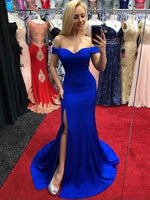 Royal Blue Off the Shoulder Mermaid Prom Dresses Banquet Gowns Evening Gowns with Slit MPD571