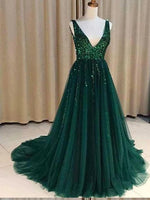 Sequined Tulle Prom Dresses Banquet Gowns Evening Gowns MPD572