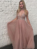 Backless Dusty Rose Tulle Beaded Prom Dress Banquet Gowns Evening Gowns MPD573
