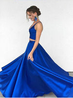 Two Pieces Royal Blue Prom Dresses Banquet Gowns Evening Gowns MPD574