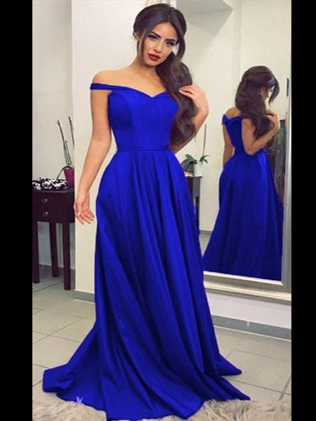 Off the Shoulder Royal Blue Prom Dresses Banquet Gowns Evening Gowns MPD585