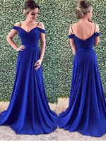 Off the Shoulder Chiffon Royal Blue Prom Dresses Banquet Gowns Evening Gowns MPD586