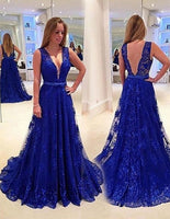 Lace Royal Blue Prom Dresses Banquet Gowns Evening Gowns MPD588