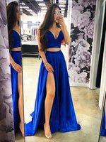 Two Pieces Royal Blue Prom Dresses Banquet Gowns Evening Gowns MPD591