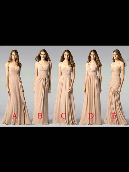 Floor Length Chiffon Bridesmaid Dresses MBP062