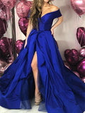 Off the Shoulder Royal Blue Prom Dresses Banquet Gowns Evening Gowns with Slit MPD630