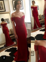 Off the Shoulder Satin Prom Dresses Banquet Gowns Evening Gownswith Slit MPD633