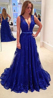 Royal Blue Lace Prom Dresses Banquet Gowns Evening Gowns MPD640