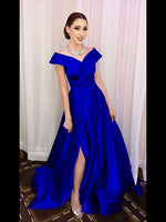 Off the Shoulder Satin Prom Dresses Banquet Gowns Evening Gowns MPD643