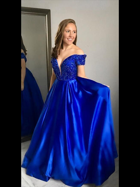 Royal Blue Off the Shoulder Prom Dresses Banquet Gowns Evening Gowns MPD659