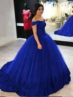 Off the Shoulder Tulle Royal Blue Prom Dresses Banquet Gowns Evening Gowns MPD660