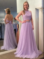 Two Pieces Halter Prom Dresses Banquet Gowns Evening Gowns MPD679