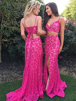 Two Pieces Lace Prom Dresses Banquet Gowns Evening Gowns MPD700