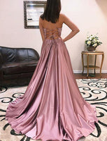 Satin Banquet Gowns Evening Gowns Prom Dresses with Slit LPD702