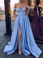 Off the Shoulder Satin Prom Dresses Banquet Gowns Evening Gowns MPD733