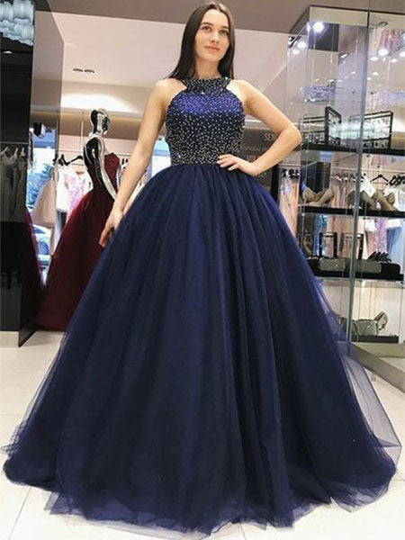 Halter Navy Blue Beaded Prom Dresses Wedding Party Dresses MPD739