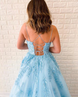 Backless Lace Prom Dresses Evening Dresses with Spaghetti Straps MPD029