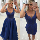Royal Blue Lace Prom Dresses Banquet Gowns Evening Gowns Detachable Skirt MPD757
