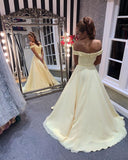 Off the Shoulder Yellow Prom Dresses Banquet Gowns Evening Gowns MPD765