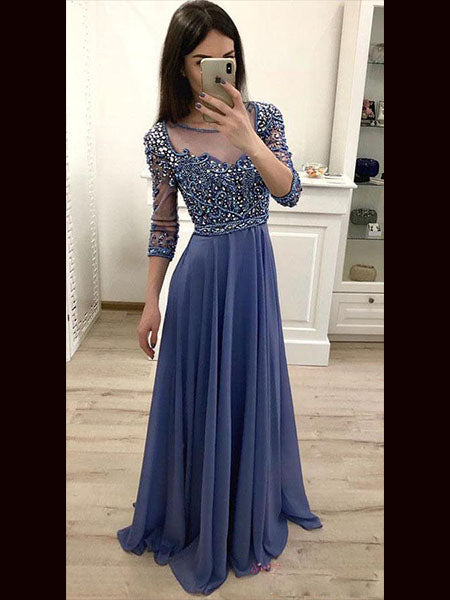 Beaded Chiffon Prom Dresses Banquet Gowns Evening Gowns MPD777