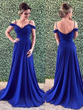 Off the Shoulder Chiffon Prom Dresses Banquet Gowns Evening Gowns MPD795