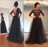 Lace and Tulle Prom Dresses Banquet Gowns Evening Gowns with Sleeves MPD798