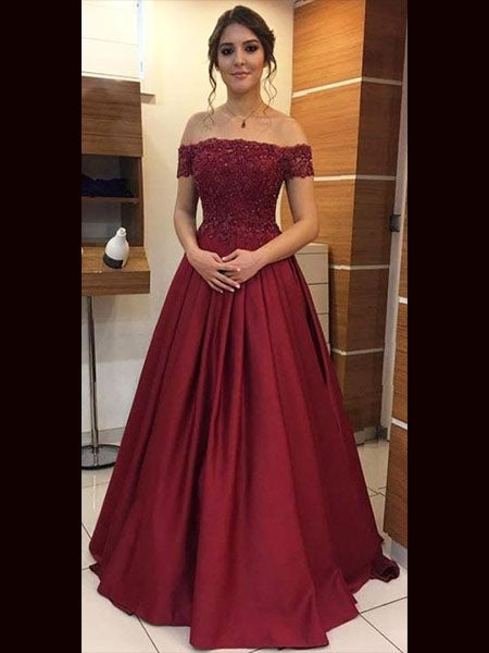Off the Shoulder Lace and Satin Prom Dresses Banquet Gowns Evening Gowns MPD805