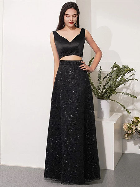 Two Pieces Black Prom Dresses Banquet Gowns Evening Gowns MPD812