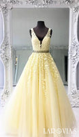 A Line Tulle and Lace Prom Dresses Banquet Gowns Evening Gowns LPD818