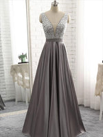 Beaded Satin Prom Dresses Banquet Gowns Evening Gowns MPD859